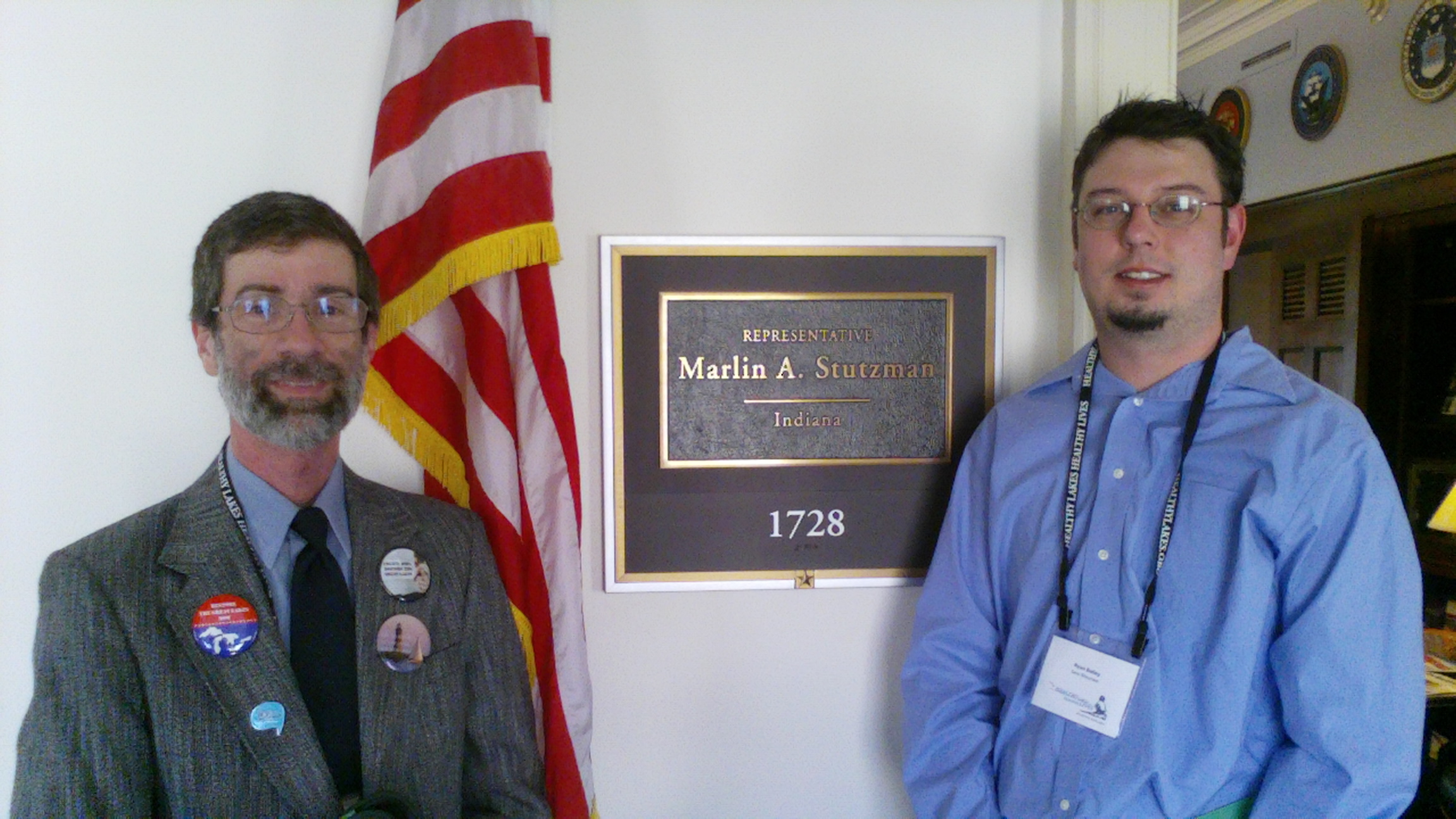 Abigail King, Bruce Allen & Ryan Bailey from Save Maumee - outside U.S. House of Representative Stutzman