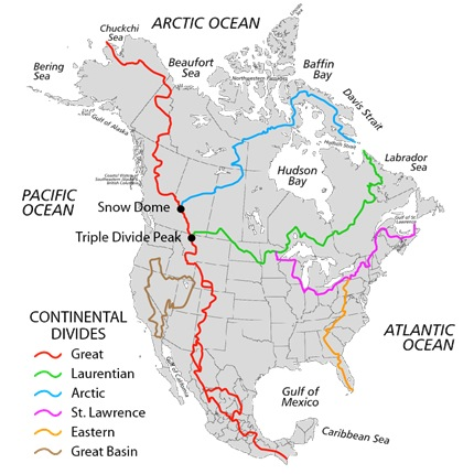 Watershed Continental Divides in North America