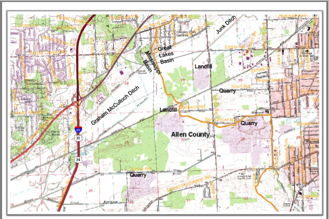 EXACT Lake Erie/Wabash Watershed Boundaries in Allen County