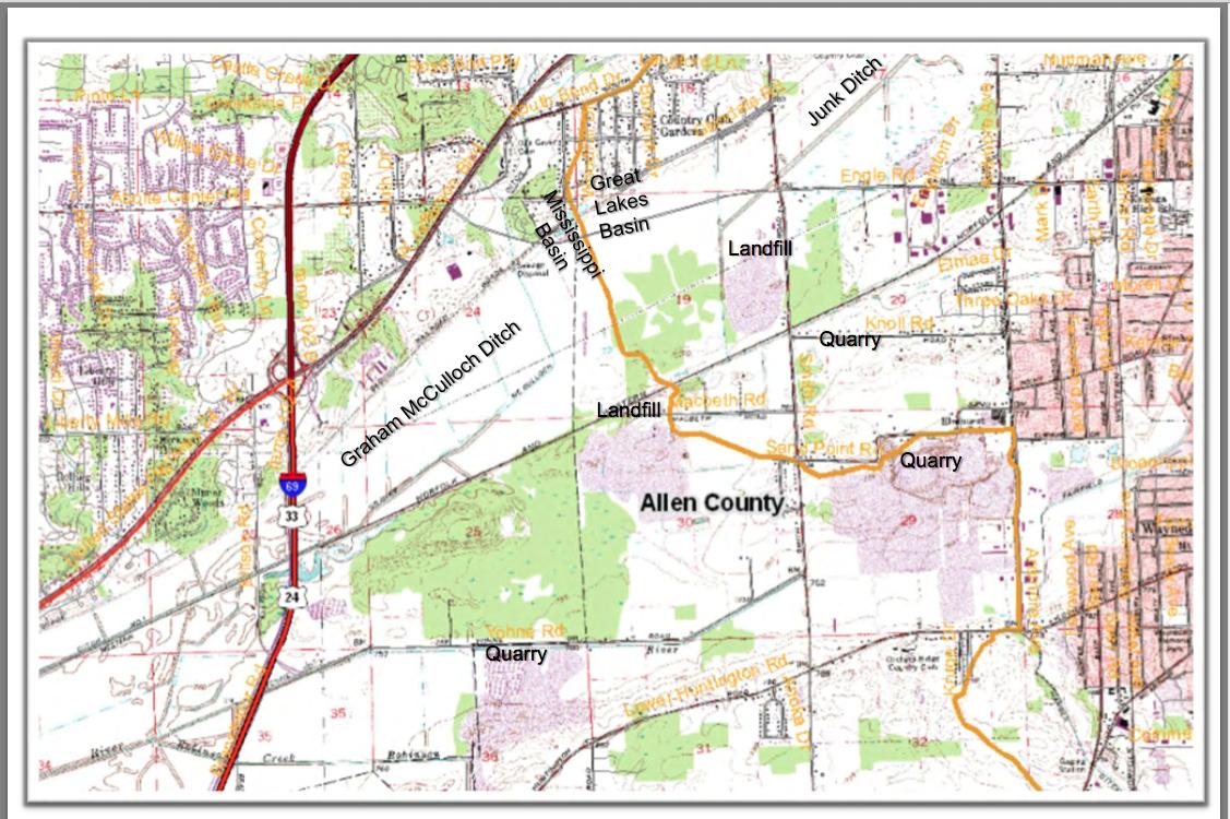EXACT Lake Erie/Wabash Watershed Boundaries in Allen County